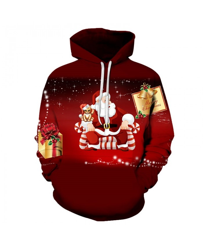 2020 Christmas Casual Fashion 3D Printed Hoodies Men The pattern of Santa sitting on the sofa at Christmas