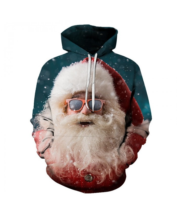 2020 Christmas Casual Fashion 3D Printed Hoodies Men The pattern of Santa with glasses on Christmas Day