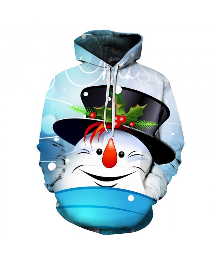 2020 Christmas Casual Fashion 3D Printed Hoodies Men The pattern of snowman in hat at Christmas