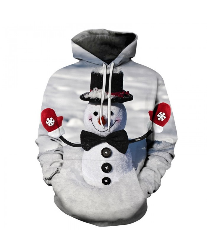 2020 Christmas Casual Fashion 3D Printed Hoodies Men The pattern of snowman with hat and gloves on Christmas Day