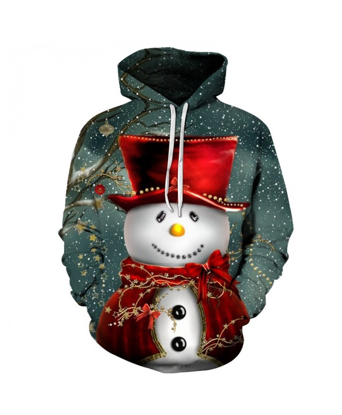 2020 Christmas Casual Fashion 3D Printed Hoodies Men The pattern of the snowman wearing a red cloak