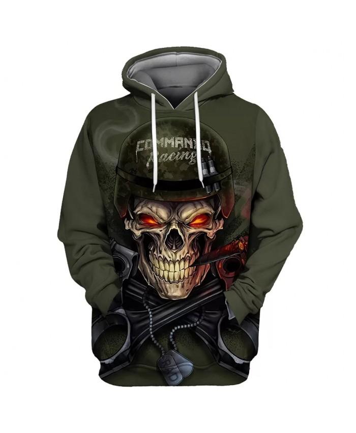 Metal armor red eyes gray smoke print casual green 3D hoodies