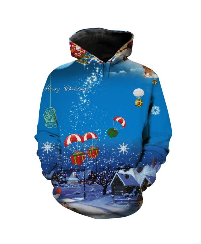 Men's 3D Hoodie Sweatshirt Blue Night Sky Village Print Fashion Sweatshirt