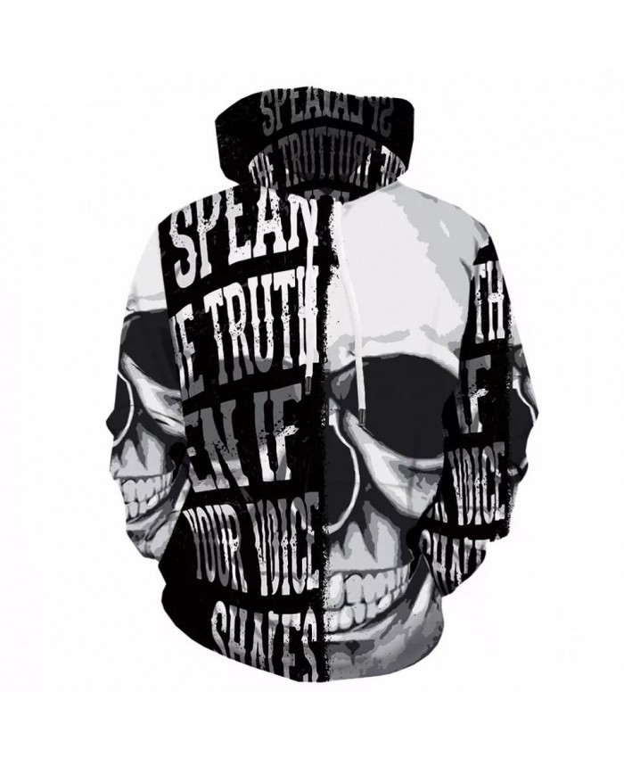 3d Skull Hoodies Men Black And White Hoodie Anime Print Sweatshirt Gothic Mens Clothing Cartoon Graffiti Hooded Streetwear