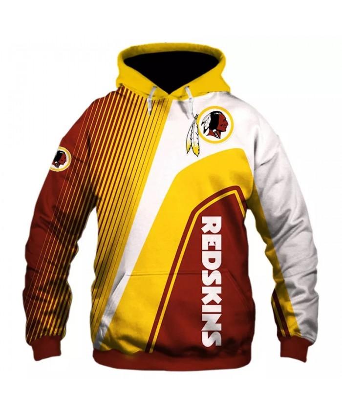 Washington fashion cool Football 3d hoodies sportswear Brown yellow white stitching feather print Redskins sweatshirt