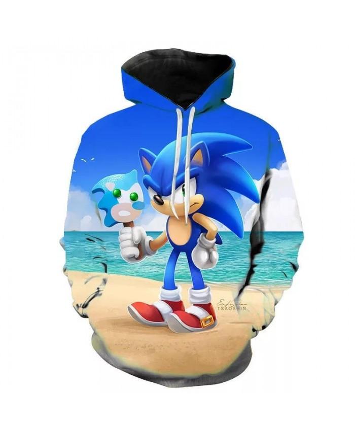 Fashion Sonic The Hedgehog Hoodies Kids 3D Hoodie Coat Boys Sweatshirts Pullovers Outerwear Hoodie Girls Jacket Streetwear Hoody