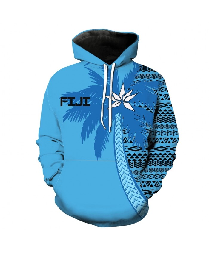 Men's Fashion 3D Hoodie Geometric pattern blue coconut tree print sweatshirts
