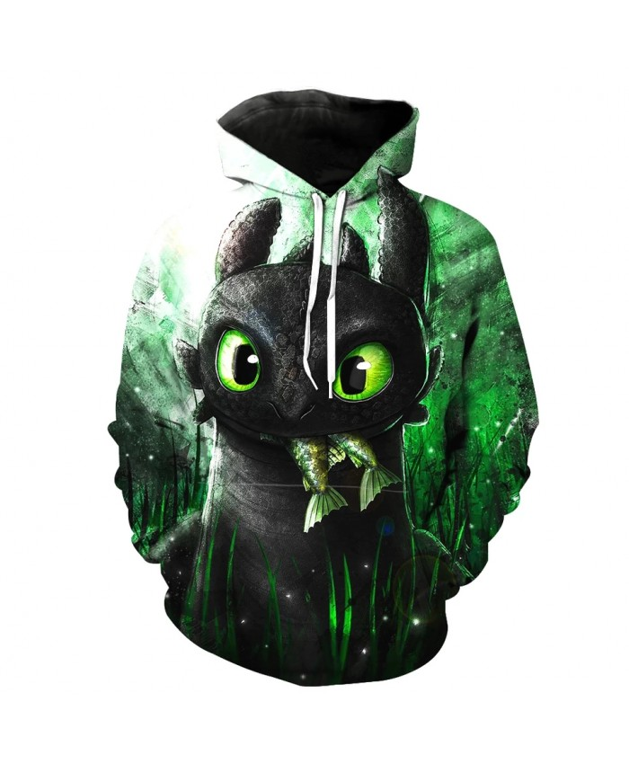 Men's Fashion 3D Hoodie Green eyes gray elf grass print sweatshirts