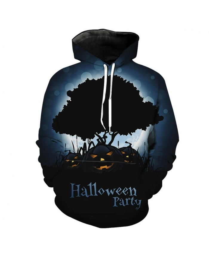 Halloween series black tree dance pumpkin print fun 3D hoodies