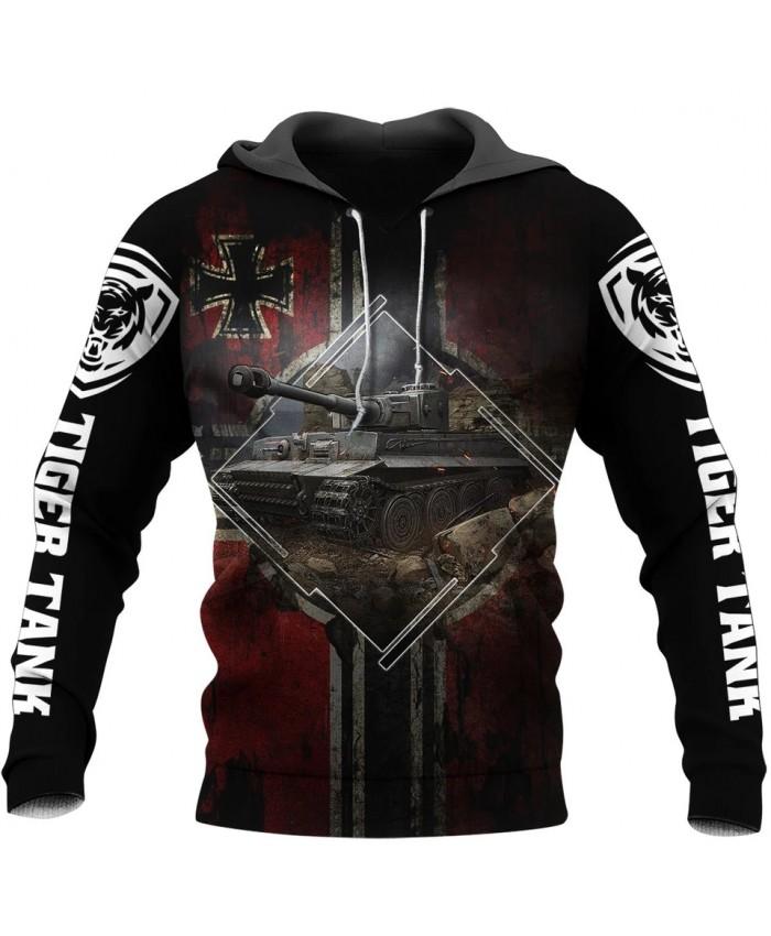 New Fashion Hoodie Tiger Tank 3D Printed Sweatshirt Hoodie Zipper Hoodie Fun Unisex Street Casual Sweatshirt