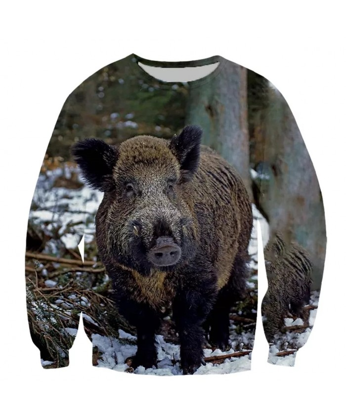 Wild boar Fashion Playerun Funny New Fashion Long Sleeves 3D Print Hoodies Sweatshirt Jacket Men women B