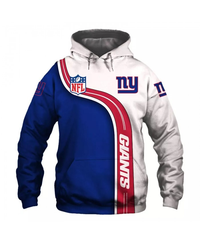 New York fashion cool Football 3d hoodies sportswear Blue Red White Striped Letter Print Giants sweatshirt 1