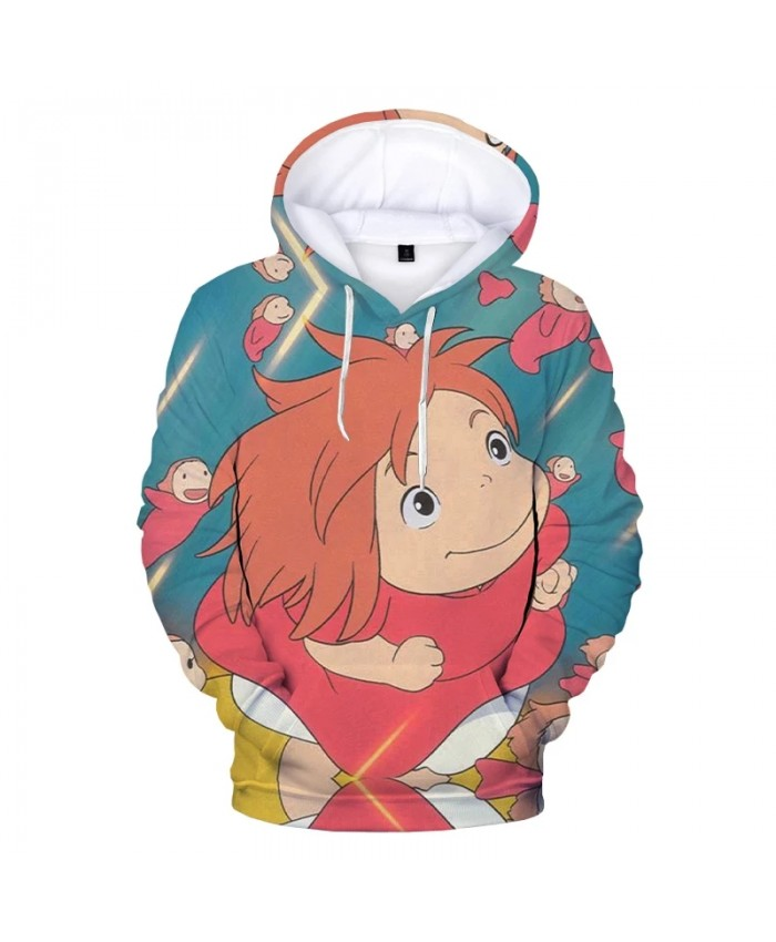 Anime Ponyo on the Cliff 3D Print Hoodie Sweatshirts Harajuku Streetwear Cartoon Hoodies Men Women Fashion Casual Cool Pullover