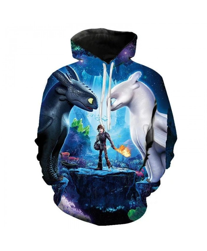 Spring And Autumn Printed 3d Men's And Women's Hoodies Train Your Dragon Children's Cartoon Fashion Casual Long Sleeve Coat