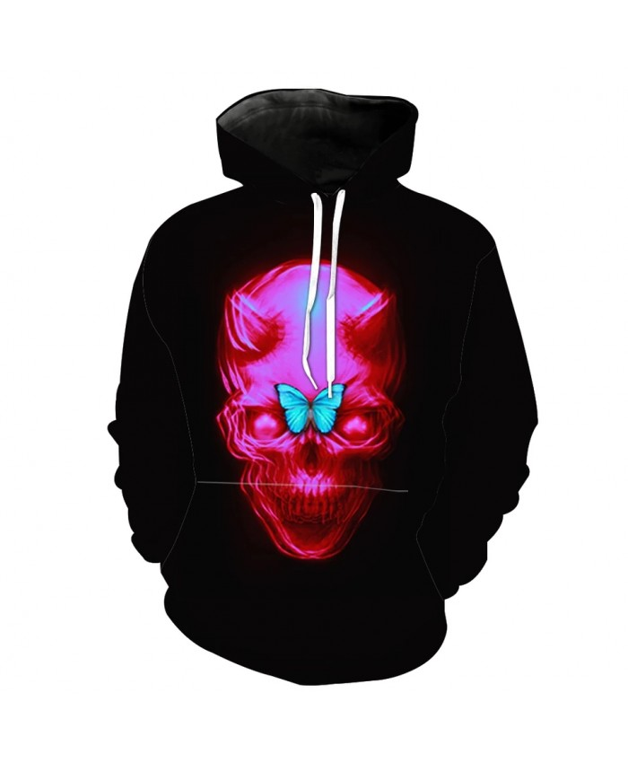Red skull blue butterfly print fun 3D hooded sweatshirts