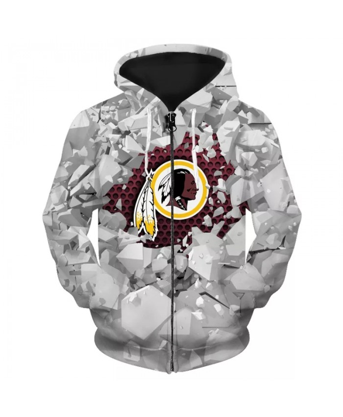 Washington Fashionable American Football Redskins zipper hoodies Broken geometric lattice feather face print sweatshirts