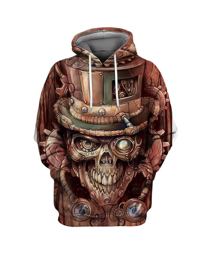 Stitching graffiti wood carving skull print fashion men's 3D hooded sweatshirts