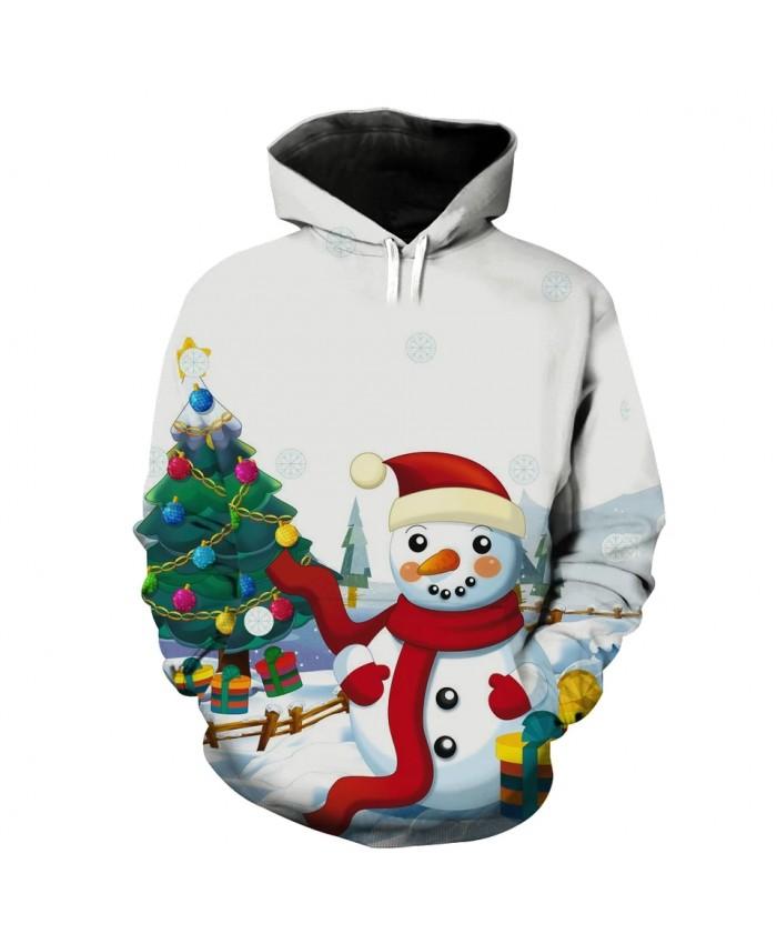 Cartoon Reindeer Carriage Doll Big Snowman Print Fashion Hoodies