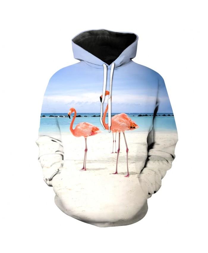 Cool casual streetwear flamingo print fashion sweatshirt