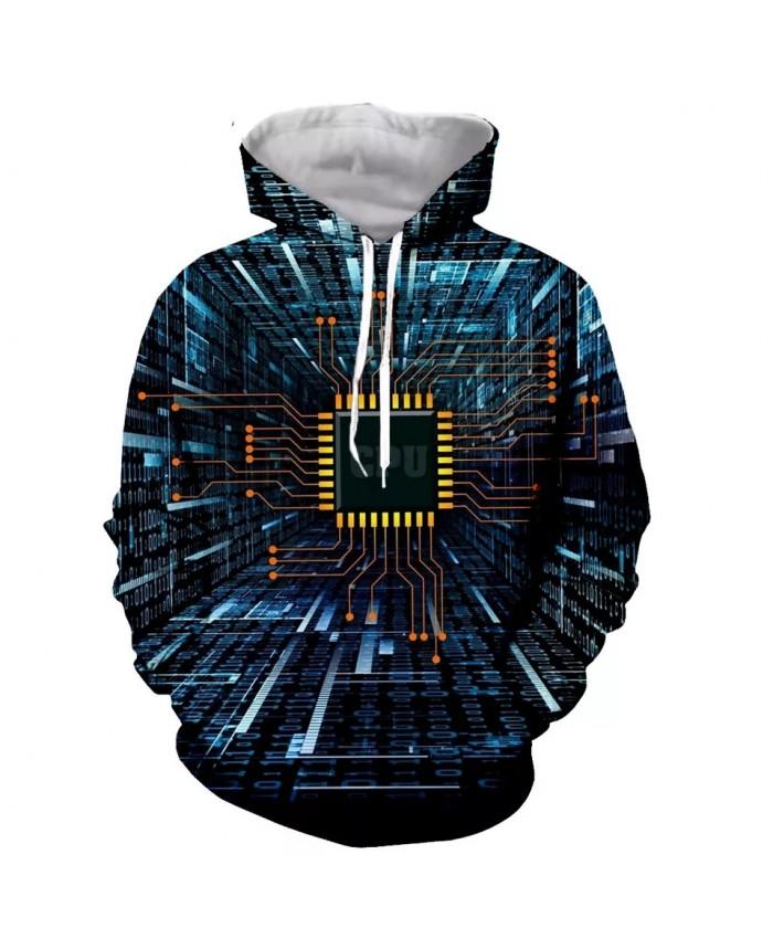 Electronic chip Fashion Long Sleeves 3D Print Hoodies Sweatshirts Jacket Men women tops