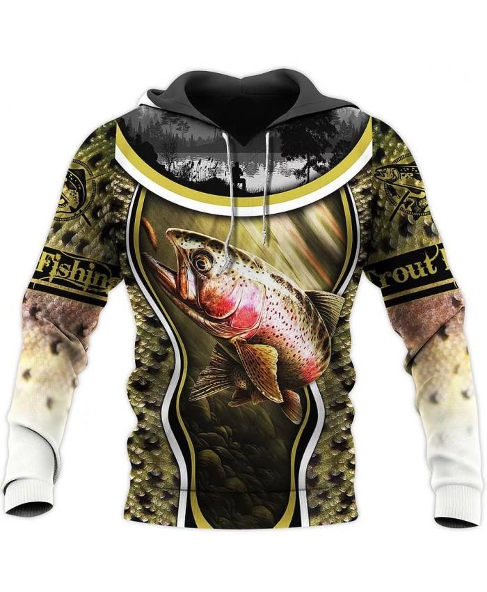 New fashion Hoodie Trout Fishing Series 3D Printed Sweatshirt Hoodie Zipper Hoodie Unisex Street Casual Sweatshirt NO0001