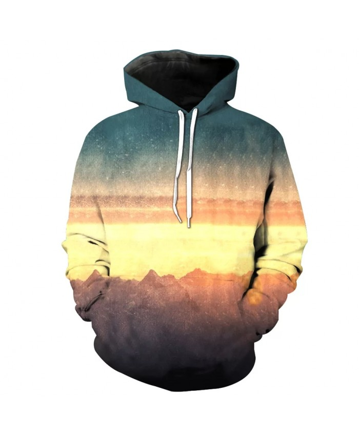 Stitching design gray and yellow cloud printing fashion 3D hooded sweatshirts