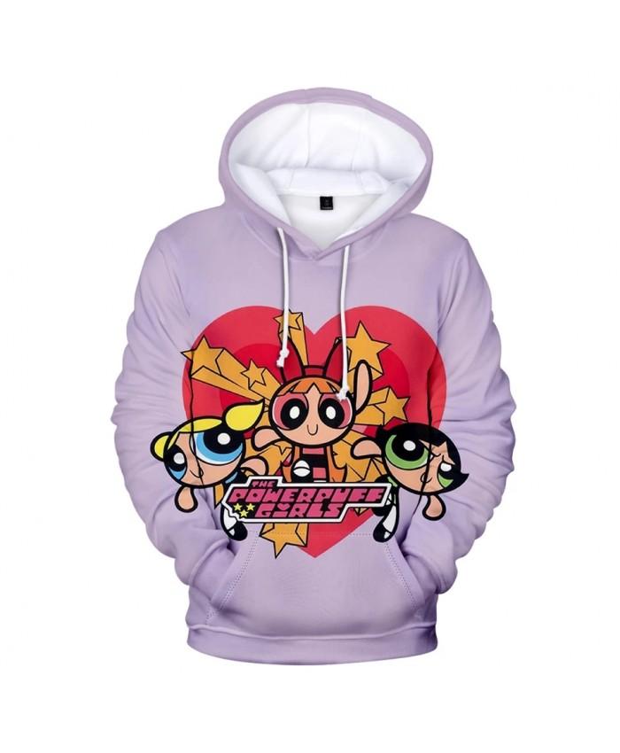 Kawaii 3D Powerpuff Cute Girls Hoodie Sweatshirts Women Long Sleeve Hooded Tops Harajujku 3D Cartoon Print Hoody Girls Pullovers