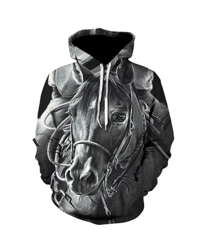 Horse print cool boy street wear thin hooded sweatshirt 3D high quality long-sleeve hip hop sport skateboard hoodie