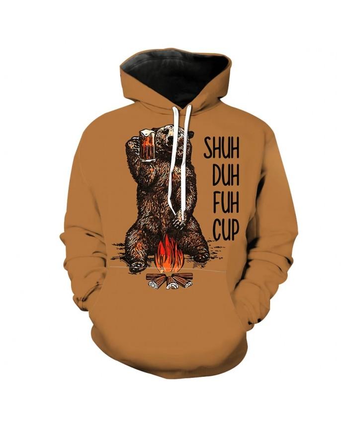 Camel casual hoodie campfire beer flame camping bear print fun sweatshirt