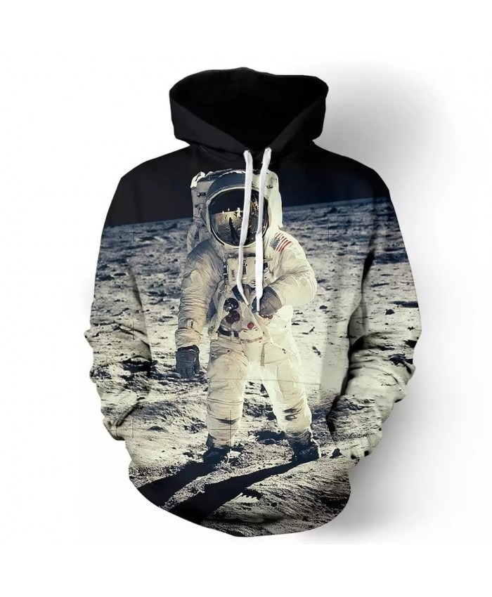 Grey Planet Walk Astronaut Print Fun 3D Hooded Sweatshirt