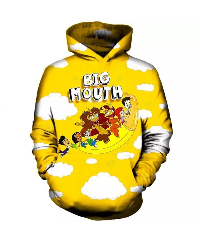 7XL Mens 3d Print BIG MOUTH FLYING BANANA Hoodie Men Women  Hooded Sweatshirt Autumn Thin Pullover Outwear