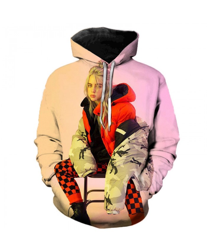 3D Billie Eilish Music Singer Hoodies Women Men Pullovers Autumn Hooded Casual Long Sleeve Print Billie Eilish Hoodies