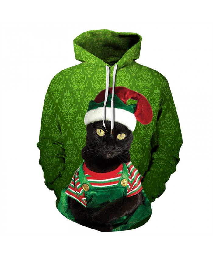 3D Black Kitten Christmas Print Unisex Men Women Autumn Hoodies Slim Sweatshirt For Couple Lovers Winter Hooded Pullovers Dropship