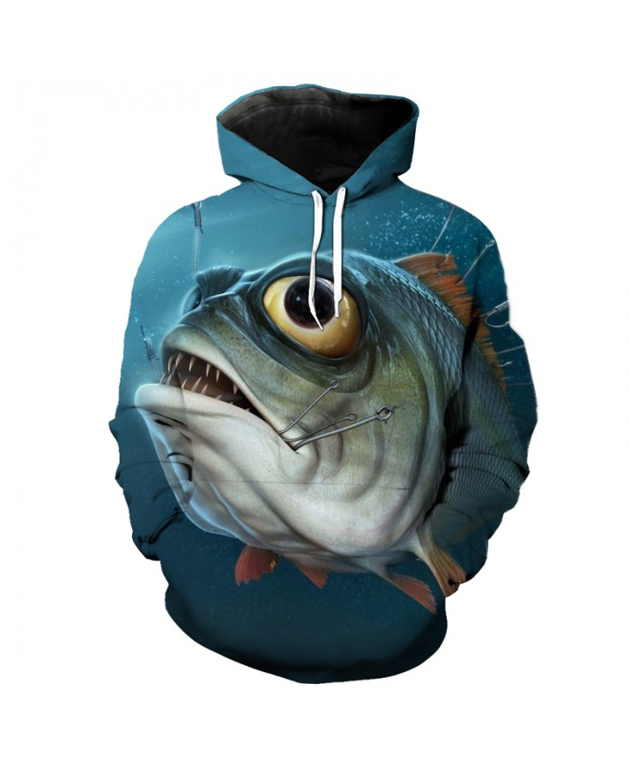 3D Cartoon Big Eye Fish Print Fashion Fun Hooded Sweatshirt Streetwear Pullover Men Women Casual Pullover Sportswear