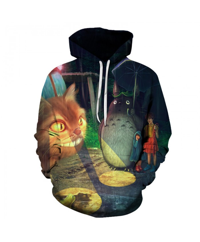 3D Cat Print Hoodies Men Sweatshirts Tracksuits Casual Male Fashion Tops Drop Ship Cartoon Pullover