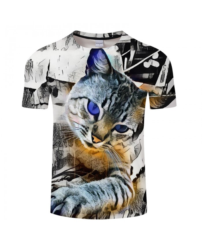 3D Cat Print T shirt Design Men Women Fashion Animal 3D t shirt Funny Casual tee shirt Top Plus Size Hot Camiseta