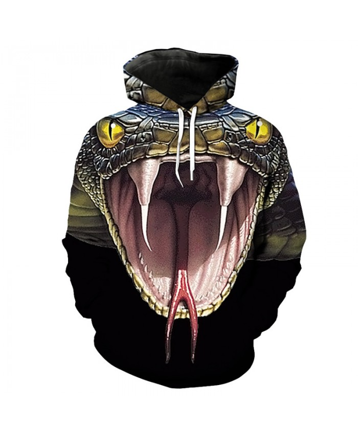 3D Cobra Print Fashion Men Women Hooded Pullover Cool Streetwear Sweatshirt
