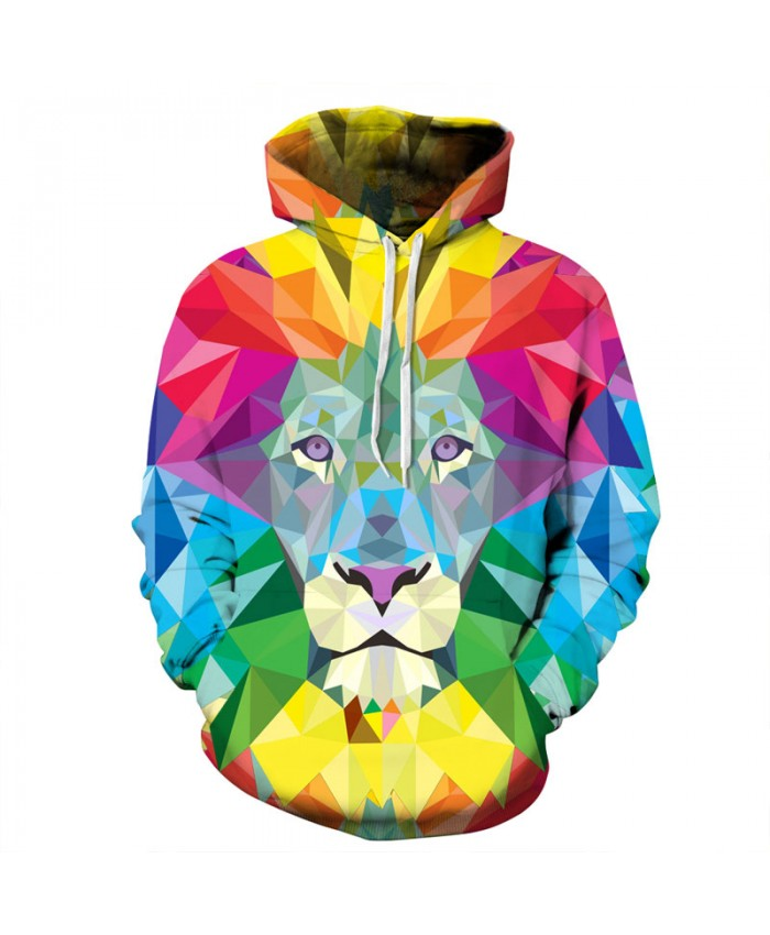 3D Colorful Lion Men Hoodies Women Hooded Sweatshirts Autumn Novelty Pullover Male Tracksuits Fashion Printed Casual Outwear