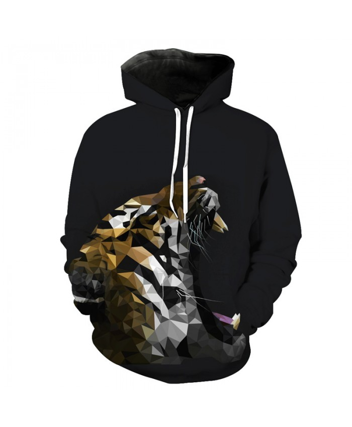 3D Crystal Roar Tiger Fashion Hooded Sweatshirt Casual Hoodie Autumn Tracksuit Pullover Hooded Sweatshirt