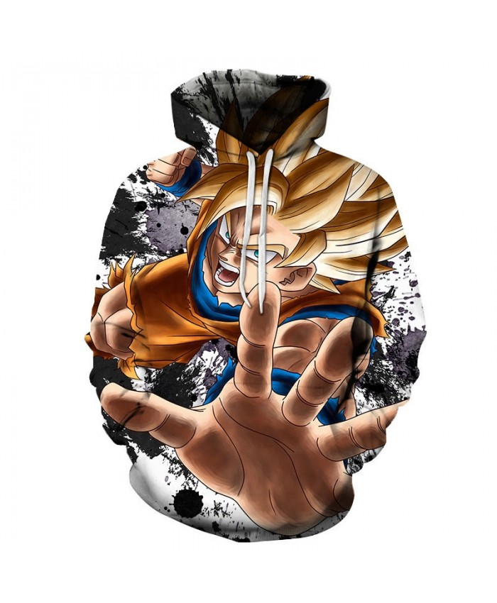 3D Dragon Ball Five Fingers Open Men Pullover Sweatshirt Pullover Hoodie Casual Hoodies Fashion Anime Men Hoodie