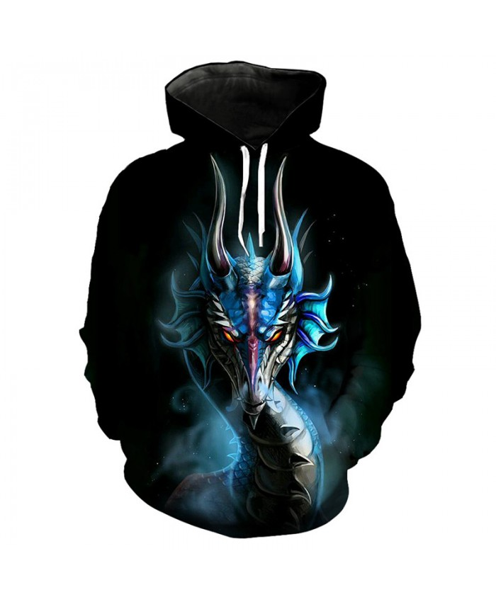 3D Fashion Blue Dragon Print 3D Hooded Sweatshirt Cool Hip Hop Street Dress Pullover