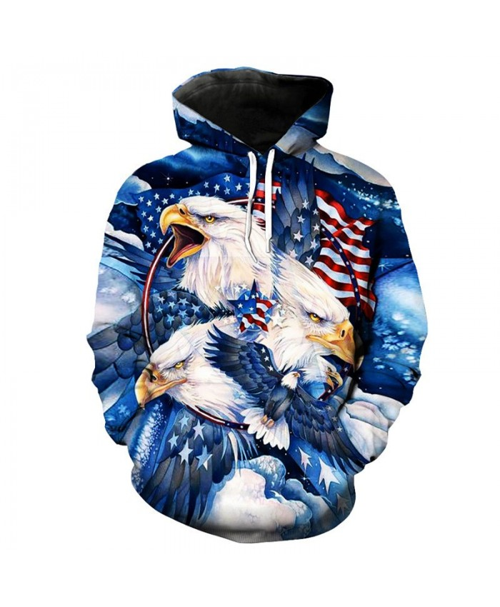 3D Fashion Men's Hooded Sweatshirt Snow Mountain American Flag Eagle Print Fun Sweatshirt Sportswear Casual Hoodie Autumn Hooded Sweatshirt