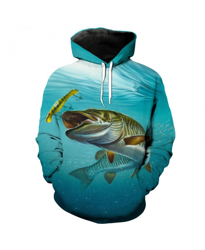 3D Fish Series Green Hooded Sweatshirt chase hook fish print fun pullover sportswear Men Women Casual Pullover Sportswear