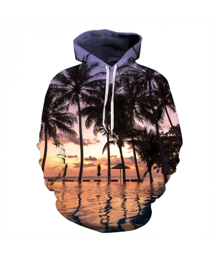 3D Hooded Sunset Seaside Coconut Printing Fashion Hooded Sweatshirt Men Women Sportwear
