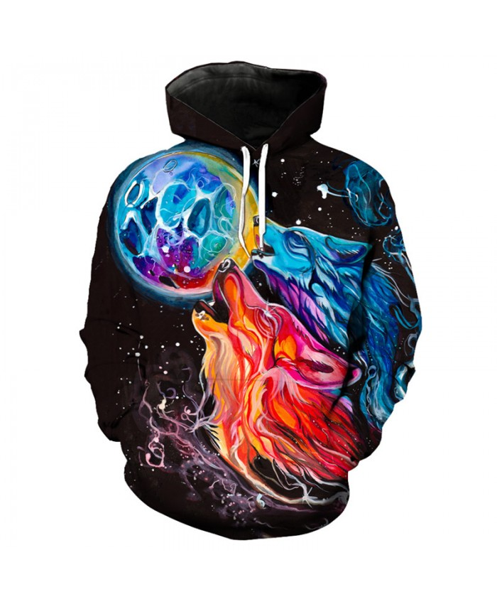 3D Hoodie Colorful ice fire wolf graffiti printing fashion hooded sweatshirt pullover Men Women Casual Pullover Sportswear