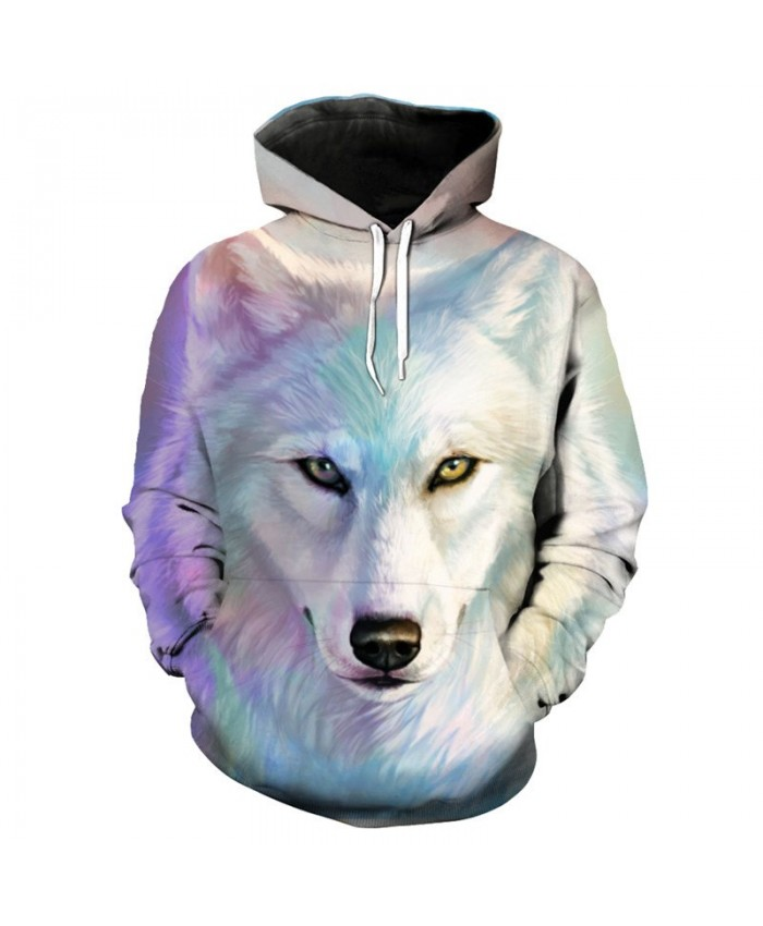 3D Hoodie Colorful white wolf print fashion hooded pullover cool Sweatshirt Men Women Casual Pullover Sportswear