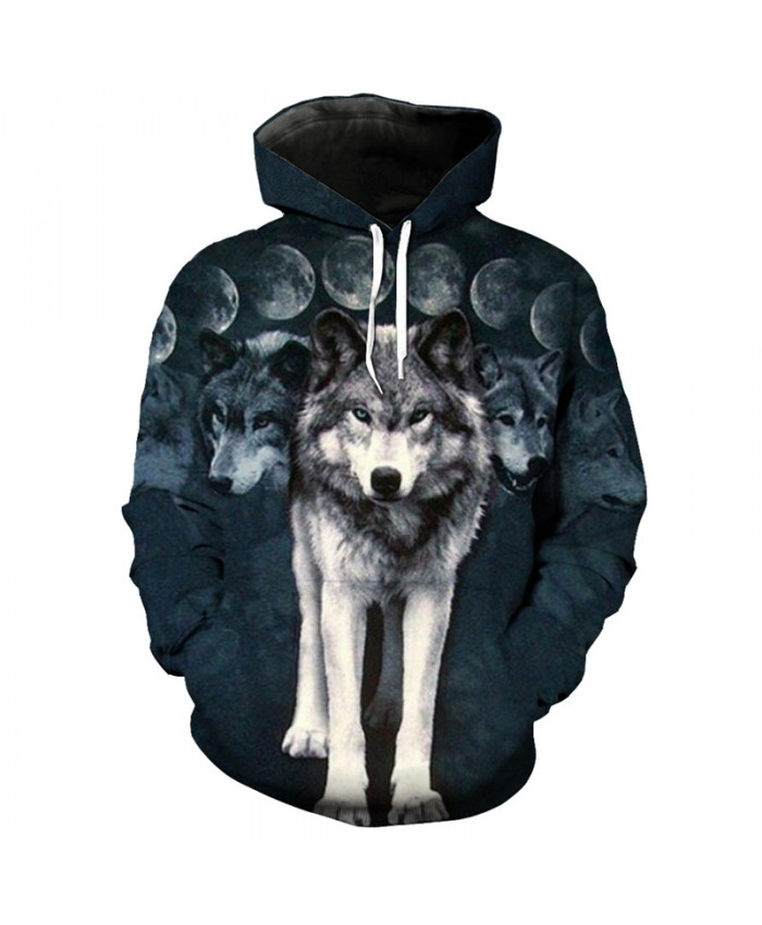 3D Hoodie Fashion streetwear moon and wolf print cool hooded sweatshirt Men Women Casual Pullover Sportswear