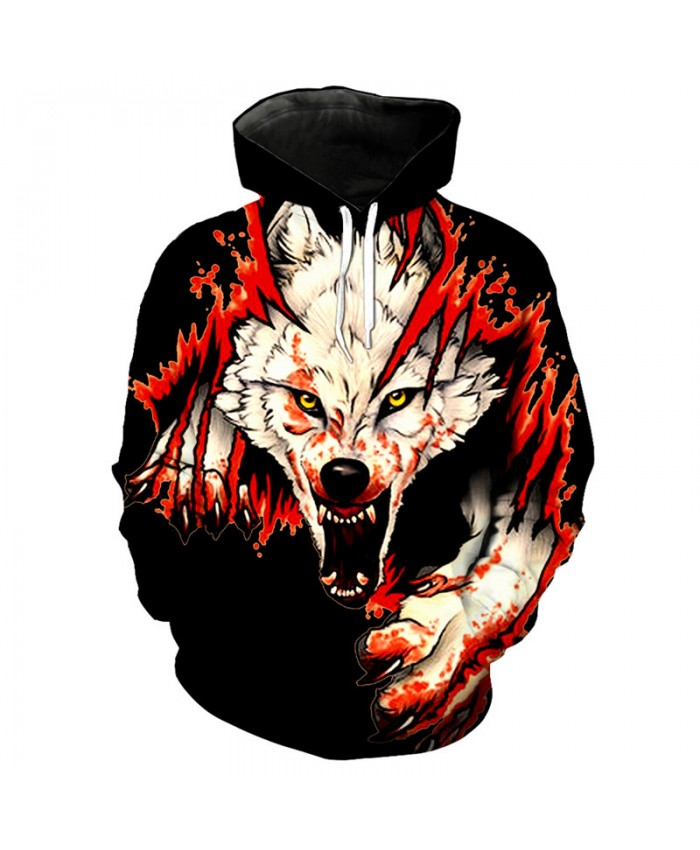 3D Hoodie Howling red flame wolf print fashion hooded sweatshirt under cool streetwear Men Women Casual Pullover Sportswear