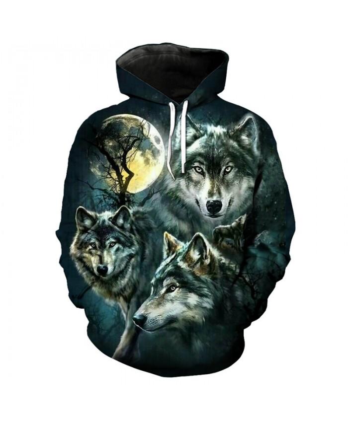 3D Hoodie Moon wolf print fashion streetwear wolf sweatshirt Men Women Casual Pullover Sportswear