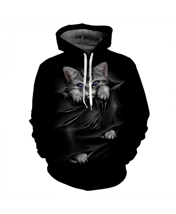3D Hoodies Men Hooded Sweatshirts Cat 3D Print Casual Personality Pullovers Streetwear Tops Autumn Hipster Hip Hop Hoodies